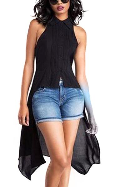 Стильный отворотный воротник Асимметричные черные шифоновые рубашки