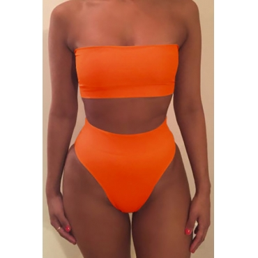 Euramerican Orange Polyester Two-piece Swimwear