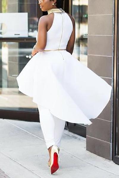 Camisas De Algodón Blanco Asimétrico Sin Mangas Con Cuello Redondo Elegante Combina Camisas