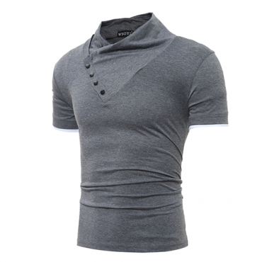 Leisure Turtleneck Short Sleeves Buttons Decorative Dark Grey Cotton T-shirt