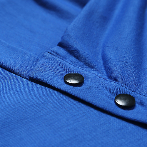 Leisure Turtleneck Short Sleeves Buttons Decorative Royalblue Cotton T-shirt