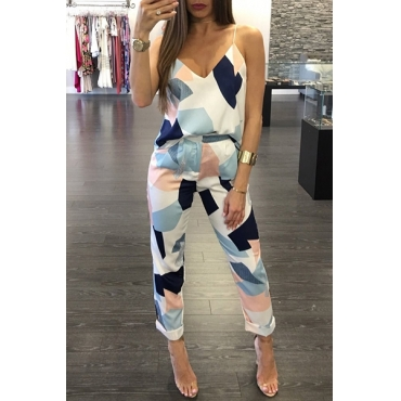 Leisure V Neck Sleeveless Color Block White Cotton Two-piece Pants Set