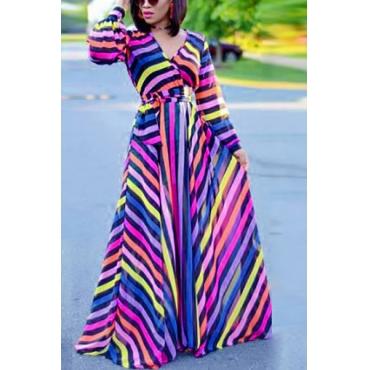 Stylish V Neck Long Sleeves Striped Printed Milk Fiber Ankle Length Dress