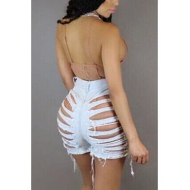 Sexy High Waist Hollow-out Light Blue Denim Shorts