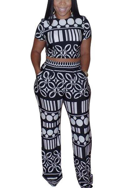 Leisure Round Neck Short Sleeves Printed Black Knitting Two-piece Pants Set