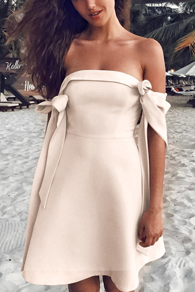 Stylish Short Sleeves Bow-tie Decoration Beige Polyester Knee Length Dress