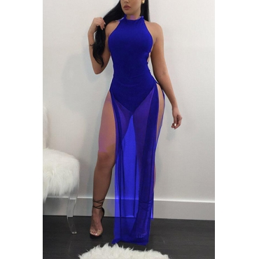 Sexy See-Through Blue Twilled Ankle Length Dress
