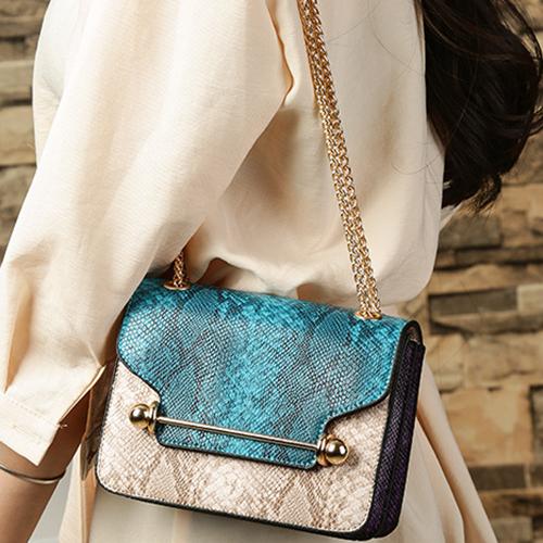 Stylish Patchwork Blue PU Crossbody Bag
