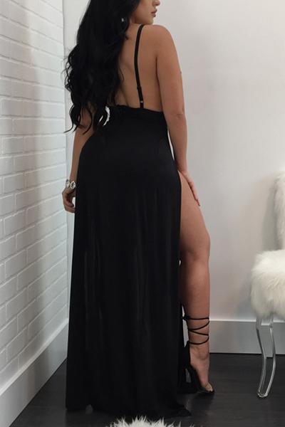 Sexy Deep V Neck High Split Black Milk Fiber Sheath Ankle Length Dress(Without Briefs)