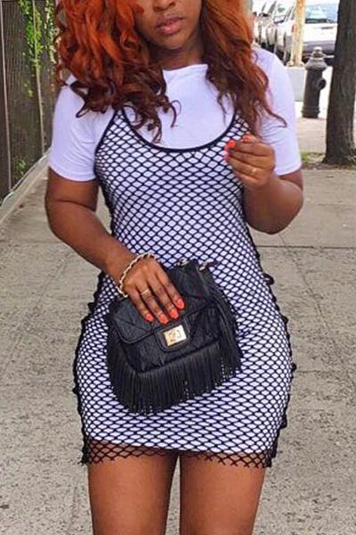 Leisure Round Neck Short Sleeves Black Cotton Two-piece Skirt set