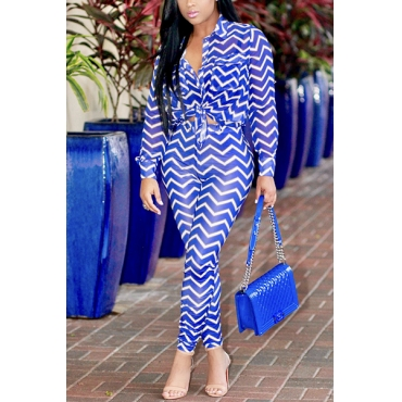 Euramerican Striped Printed Blue Healthy Fabric Two-piece Pants Set
