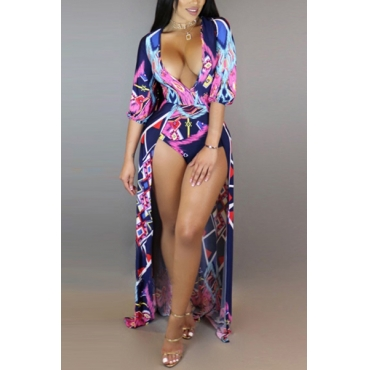 Sexy Deep V Neck Printed Hollow-out Milk Fiber One-piece Skinny Jumpsuits