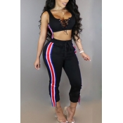 Leisure Round Neck Patchwork Black Polyester Two-piece Pants Set