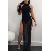 Sexy Backless Black Twilled Satin Ankle Length Dress