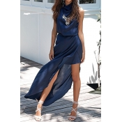 Satin Bohemian O neck Tank Sleeveless A Line Ankle