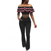 Trendy Dew Shoulder Zipper Design Black Healthy Fabric Two-piece Pants Set