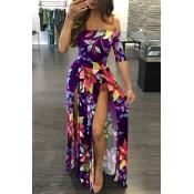 Стильный росы плеча половина рукава Цветочный Принт фиолетовый молоко волокна длина пола платье