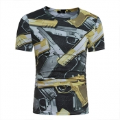 Leisure Round Neck Short Sleeves Pistol Printing B