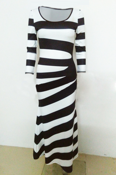 Casual O Neck Three Quarter Sleeve Striped Cotton Blend Sheath Ankle Length Dress