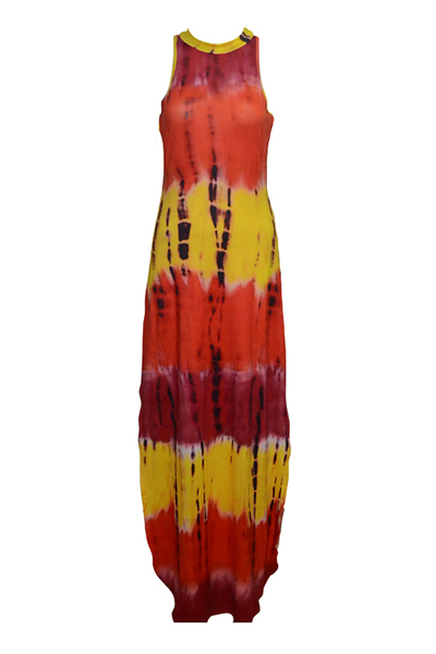 Trendy Round Neck Sleeveless Printed Side Split Red Qmilch bainha tornozelo comprimento vestido