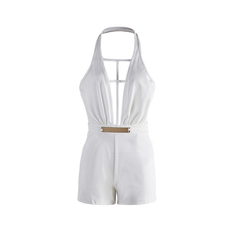 sexy profundo decote em V sem mangas sem encosto brancas de tecido saudável de uma peça jumpsuits