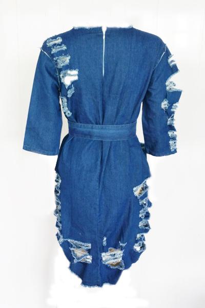 Leisure Round Neck Half Sleeves Blue Denim Mini Dress (With Belt)