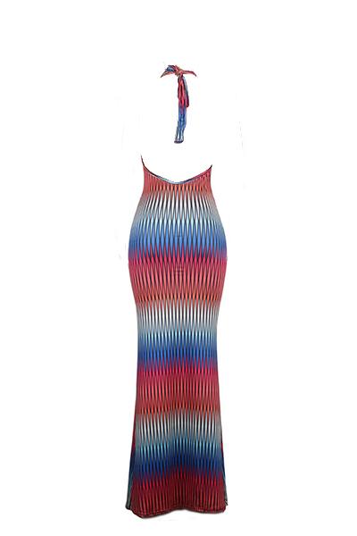 Sexy V Neck mangas de impressão digital de leite de seda vestido de assoalho de tecido de comprimento