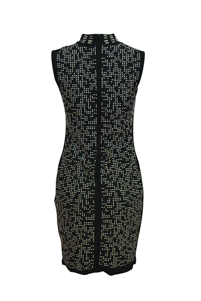 Sexy Mandarina Collar sin mangas Hollow-out negro saludable tela vaina mini vestido