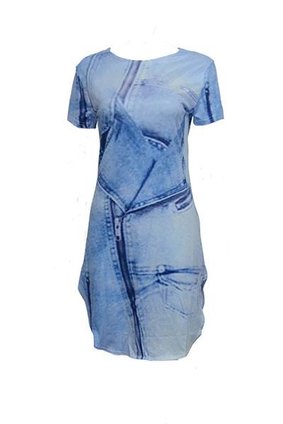 Casual cuello redondo manga corta asimétrico vestido de poliéster azul mini vestido