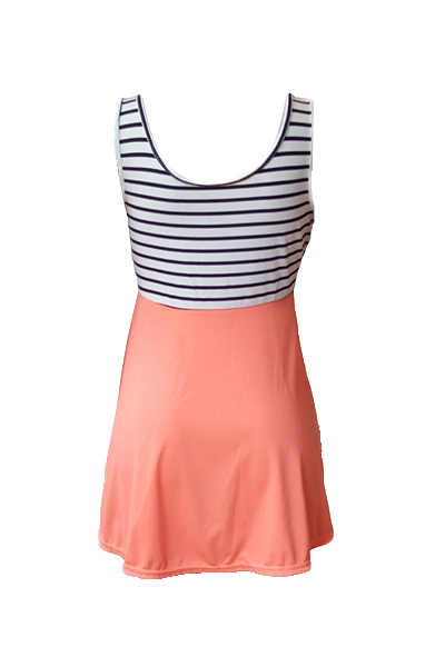 Leisure U-shaped Neck Tank Sleeveless Striped Patchwork Milk Fiber Mini Dress