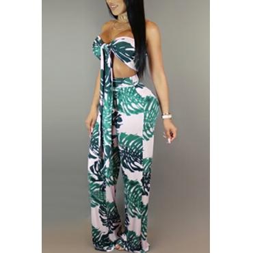 Stylish Dew Schulter gedruckt grün Qmilch zwei-piece Hosen eingestellt