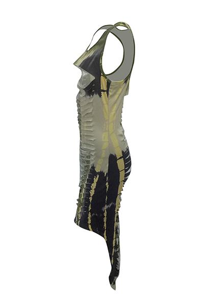 Vestito lungo dalla caviglia del fodero della fibra del latte di Black-green Hollow-out del collo rotondo sexy (stampa non posizionamento)