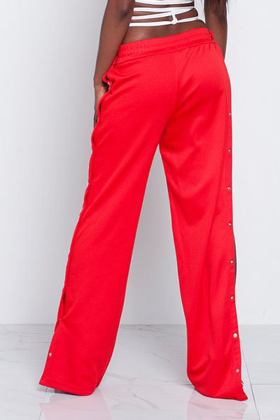 Trendy Elastic Waist High Split Red Qmilch Pants