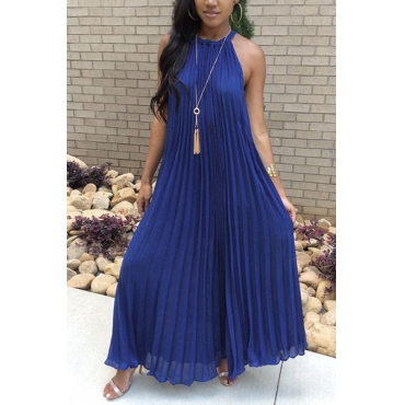 Stylish Round Neck Dew Shoulder Sleeveless Navy Blue Chiffon Floor Length Dress(Without Accessories)
