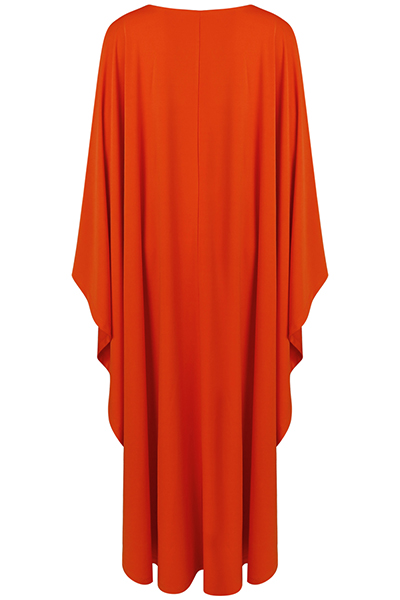 Stylish V Neck Long Sleeves Patchwork Orange Twilled Satin Ankle Length Dress