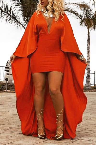 Elegante cuello en V mangas largas Patchwork naranja twilled Satin vestido de longitud de tobillo