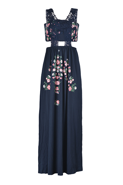 Euramerican Printed Hollow-out Navy Blue Polyester Floor Length Dress