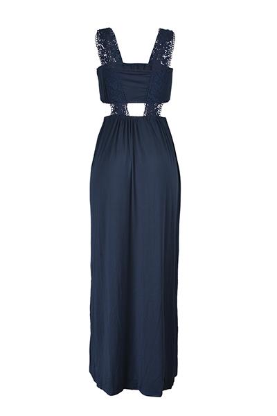 Euramerican Impreso Hollow-out azul marino vestido de poliéster de longitud del piso