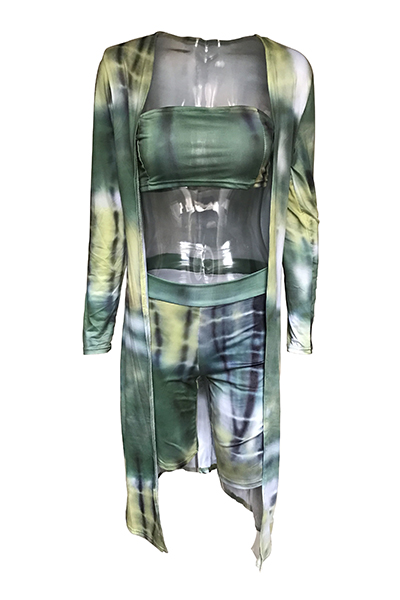 Euramerican Printed Green Milk Fiber Three-piece Shorts Set