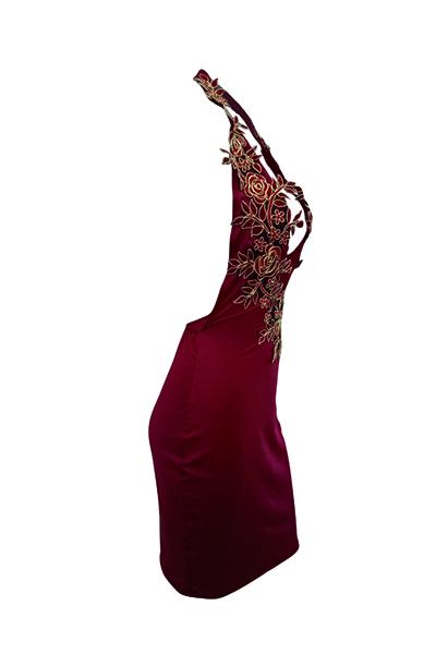 Sexy Deep V Neck Backless Wine Vermelho Poliéster bainha vestido de comprimento do joelho