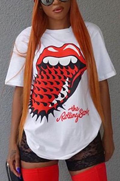 Lovelyleisure Pescoço Redondo Mangas Curtas T-shirt De Algodão Branco Impresso
