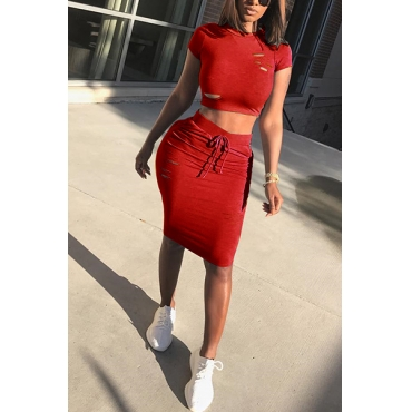 Leisure Round Neck Short Sleeves Broken Holes Orange-red Polyester  Two-piece Skirt Set