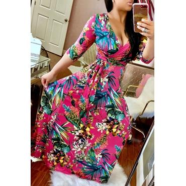 Stylish V Neck Half Sleeves Printed Red Milk Fiber Sheath Ankle Length Dress(Non Positioning Printing)