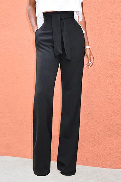 Черные штаны с высокой талией