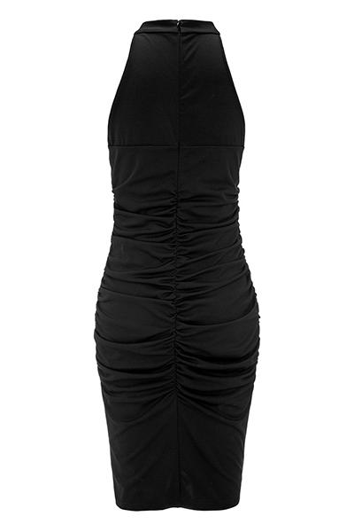 Sexy V Cuello Sin Mangas Drapear Diseño Negro Saludable Tela Vaina Hasta La Rodilla Vestido
