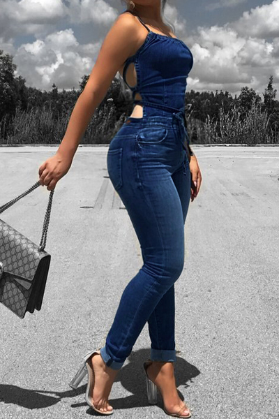 Sexy Lace-up Hollow-out Denim One-piece Skinny Jumpsuits