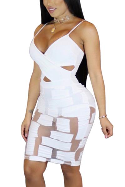 Sexy cuello en V Ver-a través de la fibra de leche blanca mini vestido de la vaina (Incluya escritos)