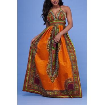 Ethnic Style V Neck Totem Printed Orange Milk Fiber Sheath Ankle Length Dress