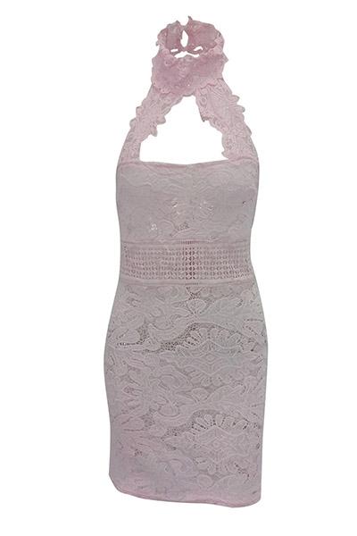 Sexy Backless Pink Lace Sheath Mini Dress(Without Lining)
