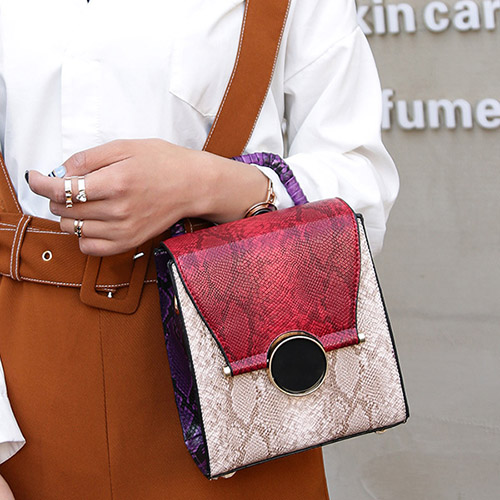 Fashion Patchwork Zipper Design Red PU Crossbody Bag